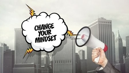 Bullhorn With Cartoon Words Change Your Mindset