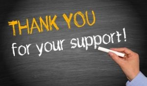 Chalkboard Reads Thank You For Your Support