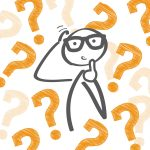 Confused Cartoon Character On A Background Of Question Marks