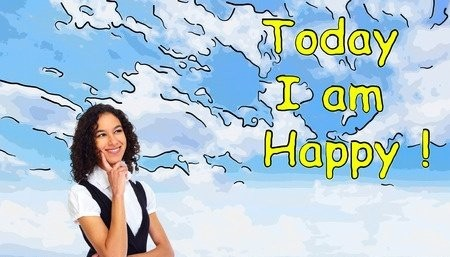 Happy Woman With Cartoon Cloud In The Background