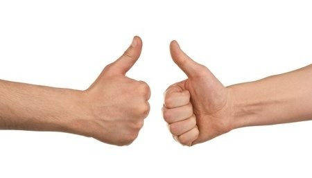Two Hands Give Thumbs Up Sign