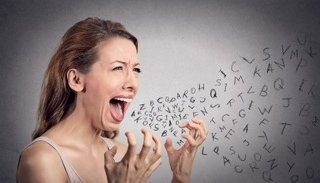 Woman Shouts And Cartoon Letters Exit Her Mouth